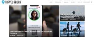 Travel Radar website
